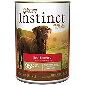 Instinct Grain Free Beef Formula Natural Wet Canned Dog Food by Nature's Variety, 13.2 oz. Cans (Case of 12)