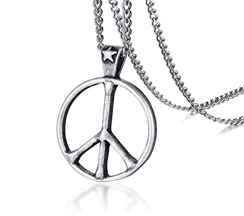 Love Beads Hippie (Stainless Steel Classic Peace Sign Love Hippie Pendant Necklace, 24 inch Chain)