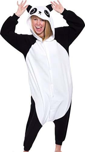 Silver Lilly Unisex Adult Pajamas - Plush One Piece Cosplay Panda Animal Costume