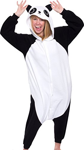 Silver Lilly Adult Pajamas - Plush One Piece Cosplay Animal Costume (Panda, XL) - Panda Costume Men