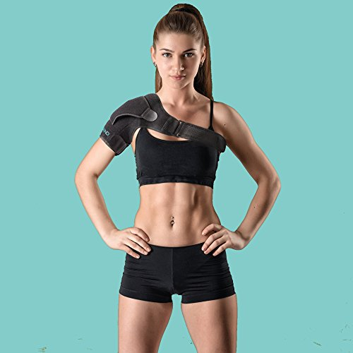 Shoulder Brace with Pressure Pad for women or men; Rotator Cuff Support for Injury Prevention; Dislocated AC Joint; Labrum Tear; Shoulder Pain; Sprain; Neoprene Compression Sleeve; Adjustable Strap by Espandi (Image #1)