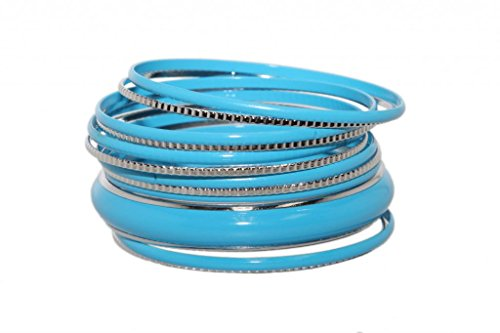 Lux Accessories Light Sky Blue Faux Rhodium Enamel Textured Multi Bangle Bracelet Set