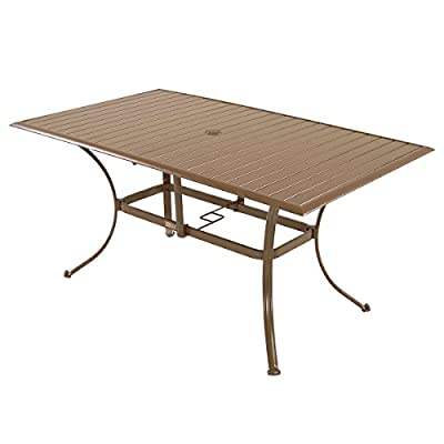 Panama Jack Outdoor Island Breeze Slatted Aluminum Rectangular Dining Table with Umbrella Hole, 36-Inch by 60-Inch - Extruded Aluminum Frame that will not rust Weather and UV resistant Sturdy aluminum legs for extra support - patio-tables, patio-furniture, patio - 41brH  9vVL. SS400  -