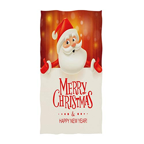 Naanle Lovely Cartoon Santa Claus with Big Signboard with Merry Christmas and Happy New Year Soft Large Guest Hand Towels for Bathroom, Hotel, Gym and Spa (16