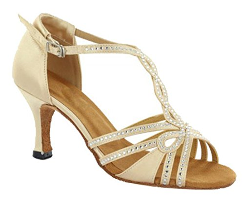 Wedding Beige Shoes Heel Strap Peep 5cm Evening Toe MGM Women's Dance Satin 7 T Joymod Sandals Rhinestones Tango Ballroom Latin Modern TqwZOfxpA