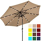 Best Choice Products 10ft Solar LED Lighted Patio Umbrella w/Tilt Adjustment - Tan