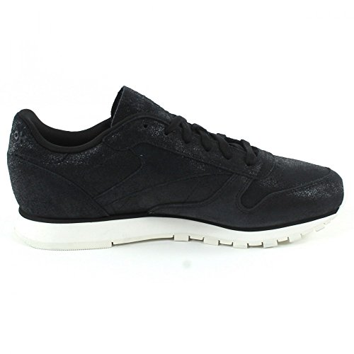 Shimmer Reebok Noir Leather Classic Baskets Yq4Y6xwEvr