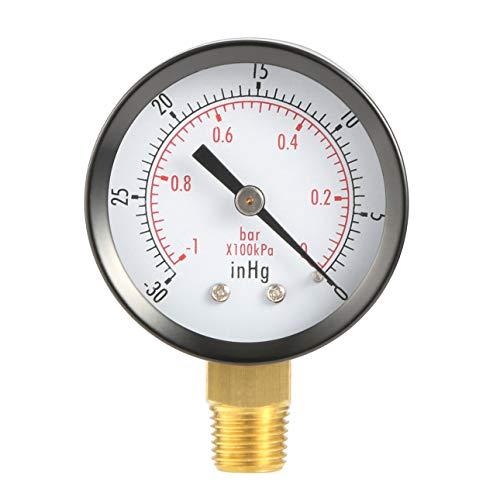 Liobaba Dry Utility Vacuum Pressure Gauge Blk Steel 1/4