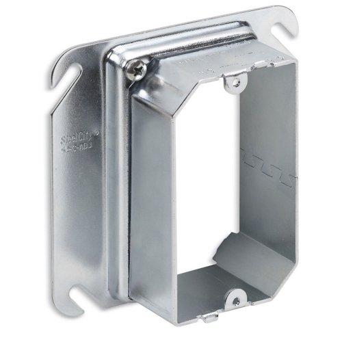 Thomas & Betts 52CADJ Pre-Galvanized Steel 1-Gang Raised Adjustable Mud Ring 4 Inch x 4 Inch x 1-1/2 Inch Steel City