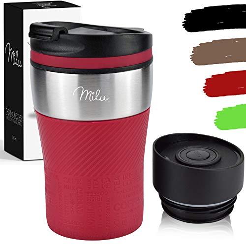 Milu Termo Taza 210ml - Vaso Termico de Viaje - Cafe para Llevar - Taza de Viaje - Taza de acero inoxidable para beber - con aislamiento de doble pared (Rojo, 210ml)
