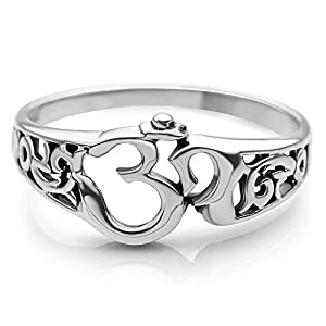 Chuvora 925 Sterling Silver Aum Om Ohm Sanskrit Symbol Filigree Design Meditation Yoga Band Ring