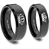 King and Queen Ring Set In BlackTitanium - His and Hers Couples Set y Southern Designs