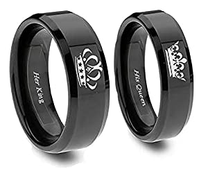 king and queen ring set in blacktitanium his and hers couples set y southern designs