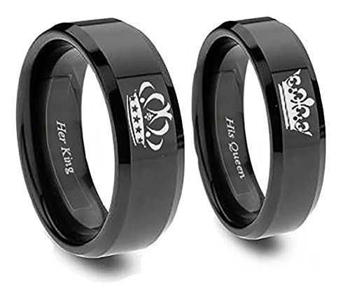 Southern Designs Matching Couples King and Queen Rings Crown in Black Titanium for Promise Friendship Wedding Christmas Valentines (his 11 her 6)