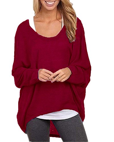 ZANZEA Women's Sexy Long Batwing Sleeve Loose Pullover Casual Top Blouse T-Shirt Wine Red US 12/Tag Size (Clothing)