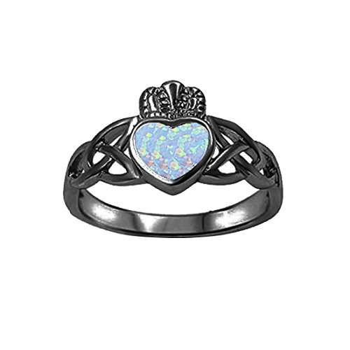 Celtic Claddagh Ring Lab Created White Opal 925 Sterling Silver Choose Color Irish Promise Ring