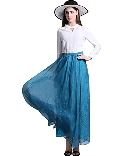 ISYITLTY Women's Soft Pleated Tulle Tutu Ballet Elastic Maxi Skirt BlueS