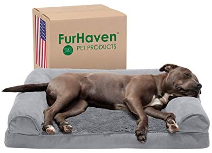Furhaven Pet – Packable Travel Bed, Plush Orthopedic Sofa, L-Shaped Chaise Couch, & Mid-Century Modern Dog Bed Frame for Dogs & Cats – Multiple Styles, Sizes, & Colors