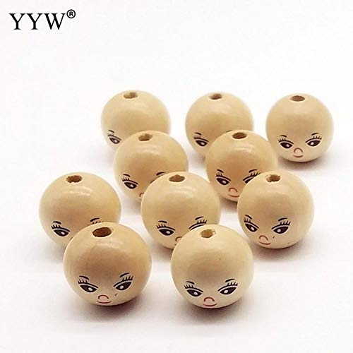 - Calvas Lovely Style 20pcs/Bag Original Color Round 22-25mm Wood Beads for Birthday DIY Jewelry Making Bracelet Necklace Accessory - (Color: 1)