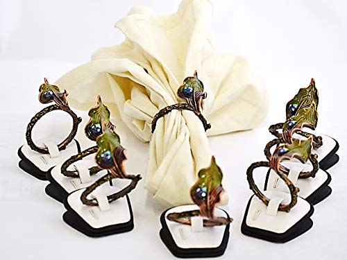 (Ciel Collectables Set of 8 pc Napkin Rings. Hand Crafted in Leaves Design with Ladybug Made with Swarovski Crystals & Enamel)