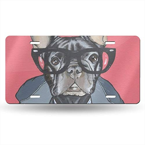 Pineapple Ladder French Bulldog with Green TieAluminium Man Holder Women License Plate Frame Novelty Cover Front Decor Decorative Tag Car Metal