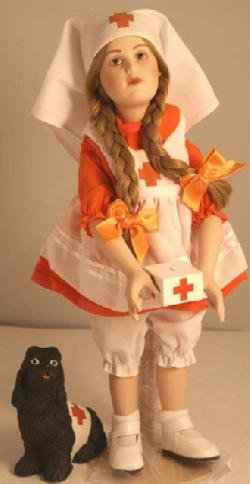 Norman Rockwell Porcelain Young Ladies Doll Red Cross Volunteer From the SATURDAY EVENING POST Danbury Mint - Vintage -