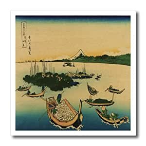 ht_62577_1 Florene Asian - 1840 Picture Of Japanese Painting Of Boats - Iron on Heat Transfers - 8x8 Iron on Heat Transfer for White Material