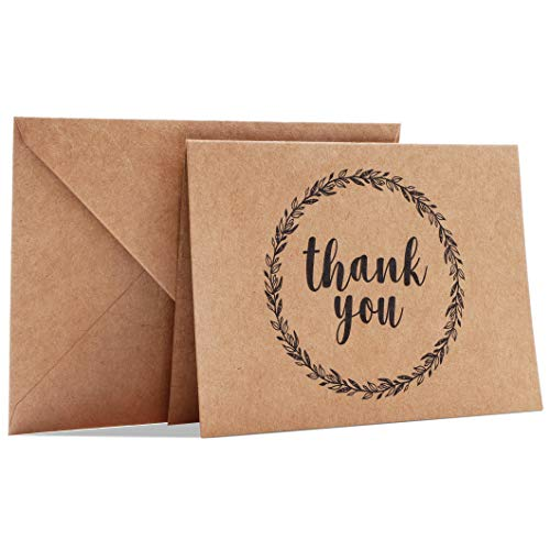 Best Paper Greetings 120-Pack Mini Kraft Thank You Note Cards Bulk Box Set for All Occasion, Wedding, Baby and Bridal Shower, Envelopes Included, 3.5 x 5 Inches
