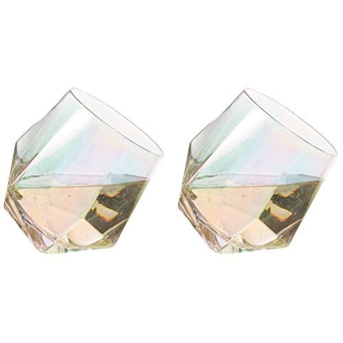 Lustre Diamond Glasses Angled Tumblers - Set of 2 By CKB Ltd Novelty Rainbow Lustre Metallic Whisky Scotch Brandy Whiskey Tilting Cocktail Glass