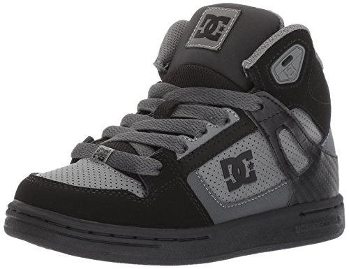 DC Shoes DC Youth Rebound Skate Shoes, Black/Grey, 1 M US Little Kid