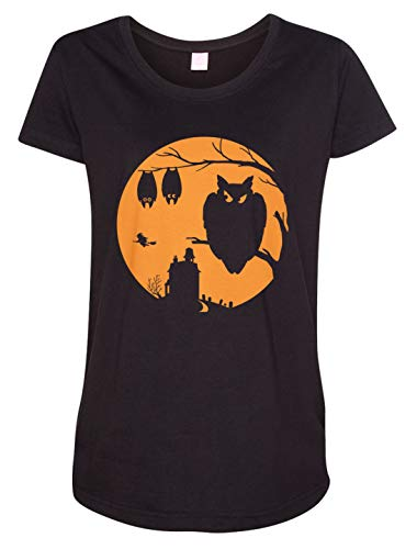 Tenacitee Ladies Halloween Moon Maternity Tee, 3X-Large, Black -
