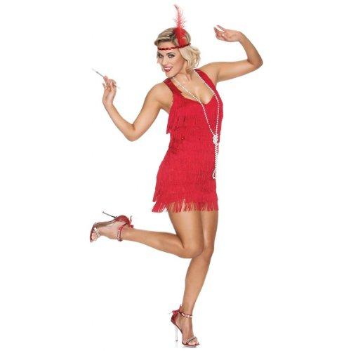 The Great Gatsby Costumes Review (Delicious Lindy and Lace Costume, Red, Medium)