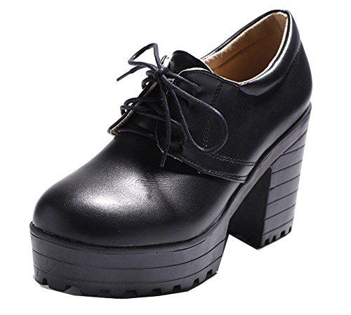 toe Pompe scarpe Lace Round Solidi Donne Nere Dell'unità Elaborazione Weipoot Delle Alti Di Tacchi up w4xF7Oq0