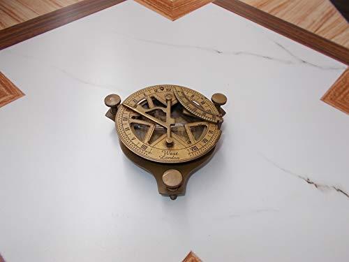 sadaf nautical store Brass Sundial Compass 4 Inch West London Roman Numeral Engrave Retro Home Decor ()