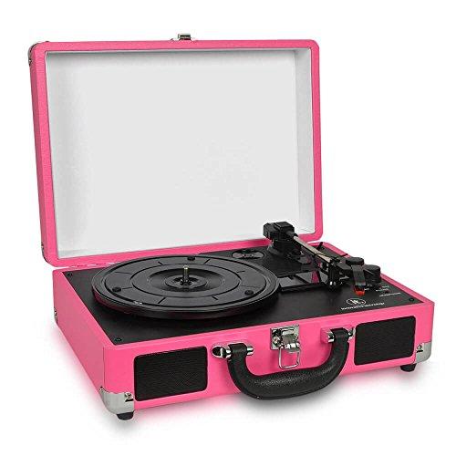 - Victrola Vintage 3-Speed Bluetooth Suitcase Turntable with Speakers, Pink