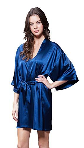Turquaz Linen Satin Kimono Bridesmaids Robe (Small/Medium, Navy Blue)