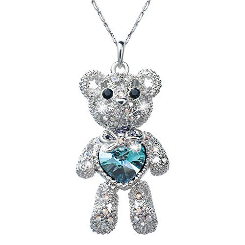 Gifts for Her, Necklace with Swarovski Crystals, Cute Teddy Bear Blue Love Heart Pendant Charm, Limb-Removable Design, Girls Jewelry Necklaces for Teens Ladies Women Best Friend | Birthday Anniversary