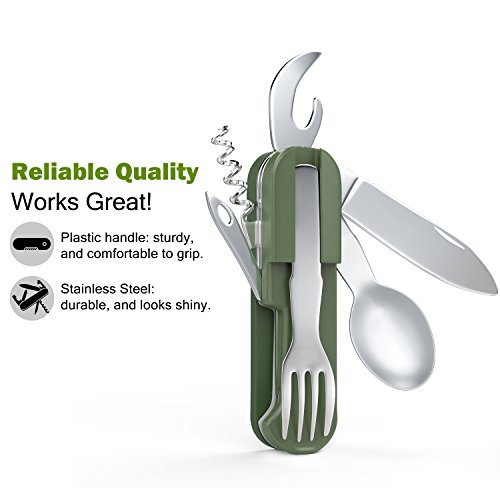 Camping Utensil, Rhino Valley 7 in 1 Folding Knife Fork Spoon Set Multipurpose Handy Pocket Tool with Bottle Opener, Corkscrew, Nylon Pouch for Outdoor Camping / Picnic / Backpacking / Hiking Green