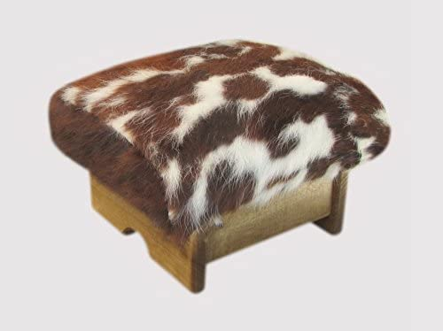 KR Ideas Mini Padded Foot Stool Cowhide, 7 Tall Made in The USA Maple Stain