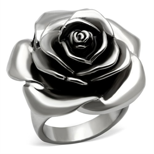 (Women's Stainless Steel Black Epoxy Rose)