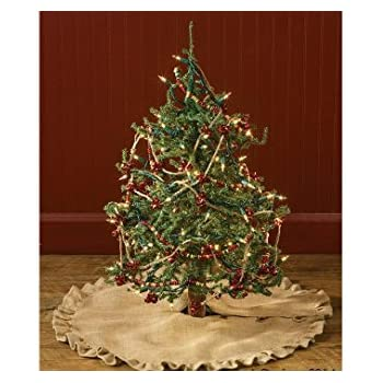 Amazon.com: Homeford Burlap Christmas Tree Skirt Round Sewn Edge ...