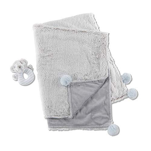 Blue Teddy Bear Rattle - Baby Aspen Luxury Baby Blanket and Teddy Bear Rattle Gift Set - Blue/Light Gray/Light Blue