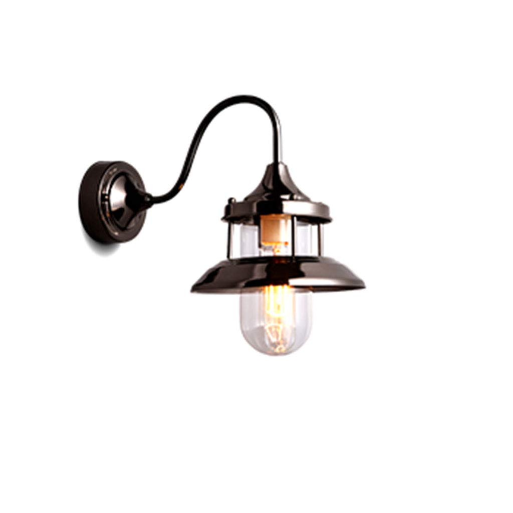 European Retro Outdoor Wall Lamp, Creative Iron Lantern Shade Glass Lamp E27 (Black), Wall Lamp Kitchen/Living Room/Bedroom/Hotel/Cafe/Bar Lamp