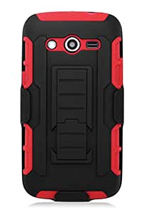 HHI Tech Duo Armor Holster Case with Stand for Samsung Galaxy Avant - Red (Package include a HandHelditems Sketch Stylus Pen)