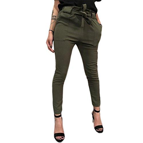 Clearance Deals Harem Pants, vermers Women High Waist Bandage Elastic Waist Stripe Casual Pants(XL, Army Green)