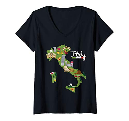 Womens Italy Travel Map Flag Gift Italia Pride Souvenir Vacation V-Neck T-Shirt