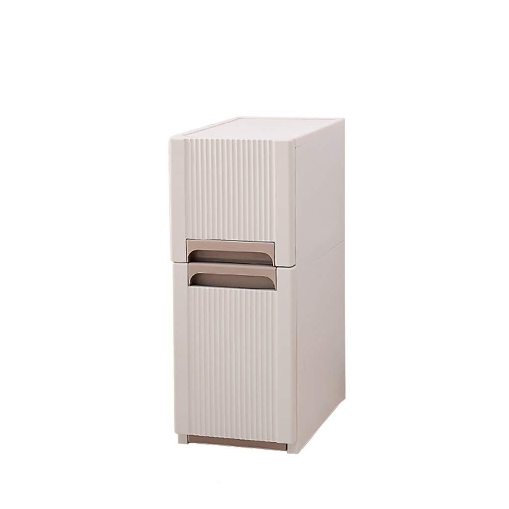 白い3段収納キャビネットシェルフ、バスルーム、引き出しと隠しハンドル付きのプラスチック収納ボックス、隠しホイール付きのフロアコーナー収納棚 B07RNLC45F