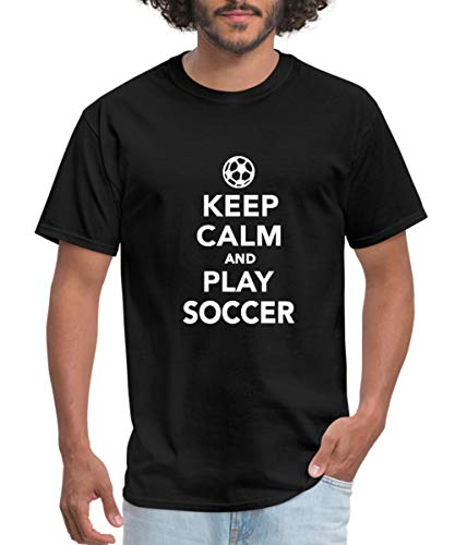 Spreadshirt Keep Calm and Play Soccer Men's T-Shirt, XL, Black - Soccer Quote T-shirt