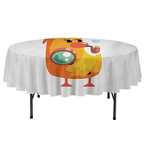 - Cartoon Easy to Care for Leakproof and Durable Round tablecloths Private Detective Duckling Character with a Magnifying Glass and Pipe Duck Sherlock Outdoor Picnic D70 Inch Multicolor