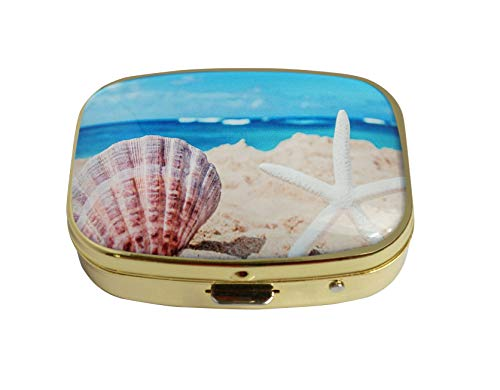 LCTCKP Custom Fashion Square Glass Gold Pill Case Decorative Metal Western Medicine Tablet Container Box (Starfish with Seashell on The Sandy Beach)